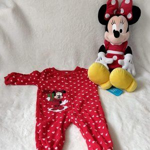 NWT Disney Minnie Mouse Christmas Onesie & Doll